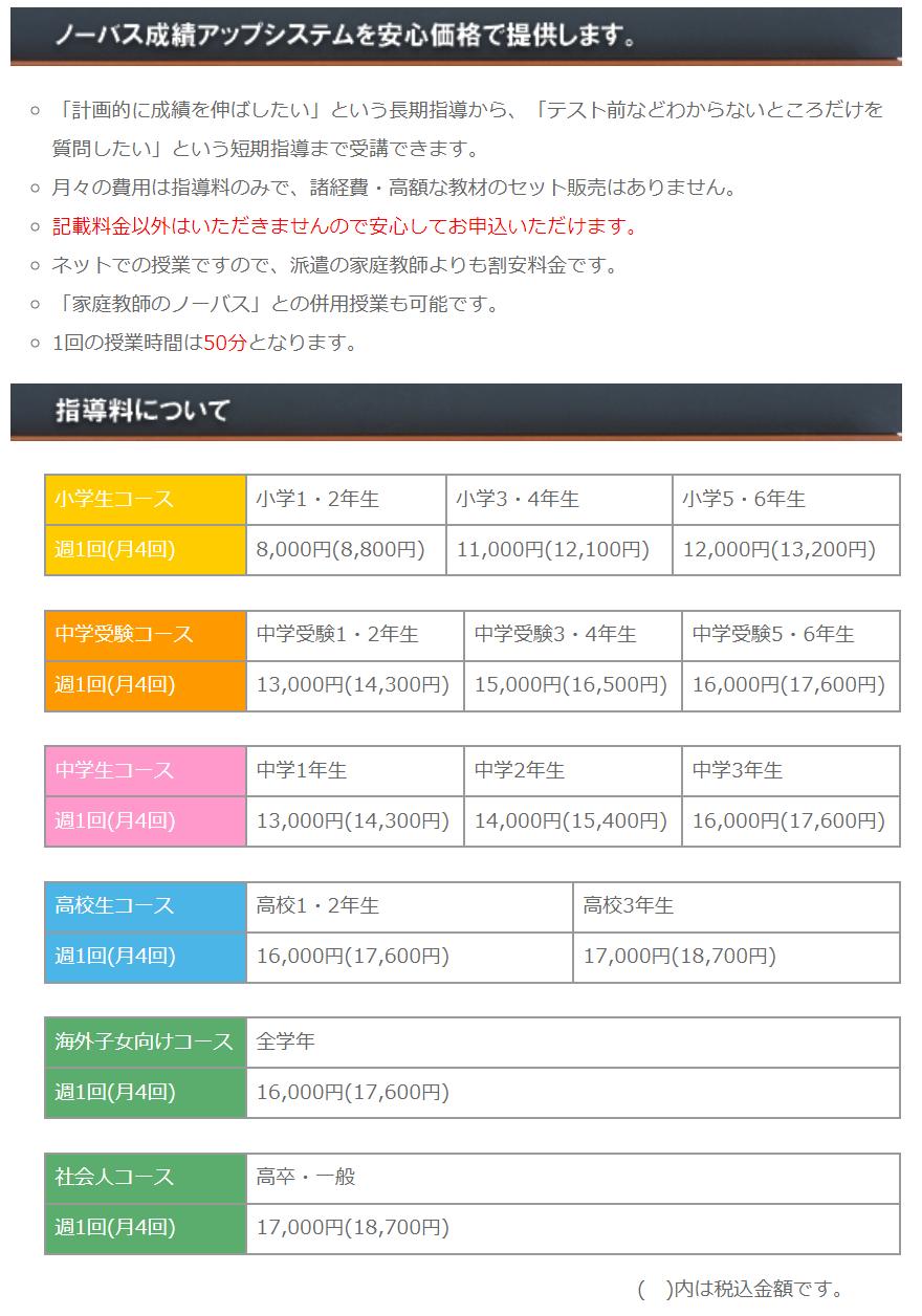 インターネット家庭教師Netty【ネッティー】|料金表