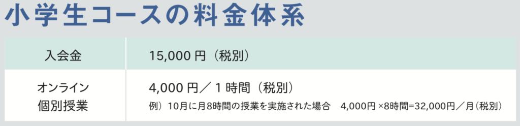 study coach料金表(小学生)